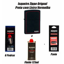 Zippo Original Preto Com Listra Vermelha + Kit Manutenção G