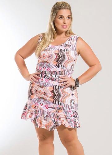 Vestido Detalhe Babado Na Barra Étnico Plus Size Original