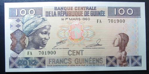 Guiné: Bela Cédula De 100 Francs   2012  Fe - Oferta !!! Original