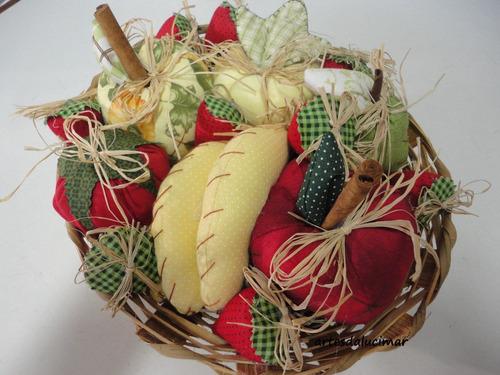 Cesta De Frutas Feita  Tecido Original