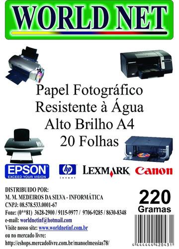 60 Folhas Papel Fotografico A4 220grs Original