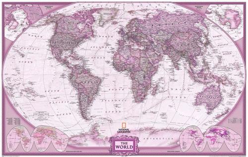Mapa Mundi Hd Gigante Atlas Em Tons De Rosa Decorar Parede Original