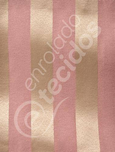 Tecido Jacquard Rosa E Dourado Listrado 1m X 2,8m Decoração Original