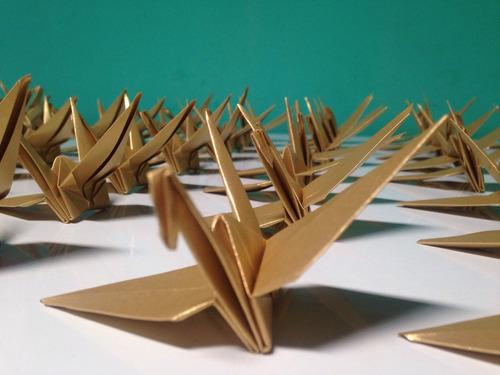 Origami Tsuru Dourado- Pct 100 Unidades