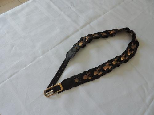 Cinto De Couro Trançado Preto E Dourado- Original