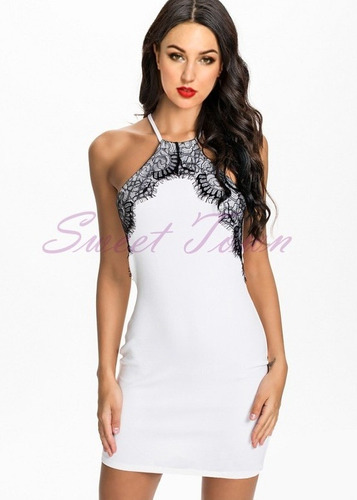 2cb15556a Comprar Vestido Curto Branco Com Detalhe Renda Preta Nova Moda Verão ...