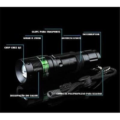 Lanterna Tatica Led Recarregavel + Carregador Bateria 18650 em Baixo Guandu