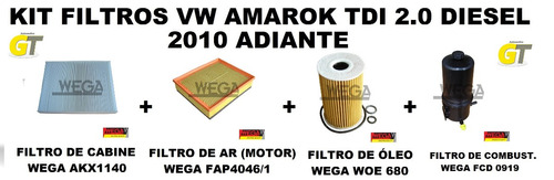 Kit Filtros Wega Vw Amarok Tdi 2.0 Diesel 2010 Adiante Original