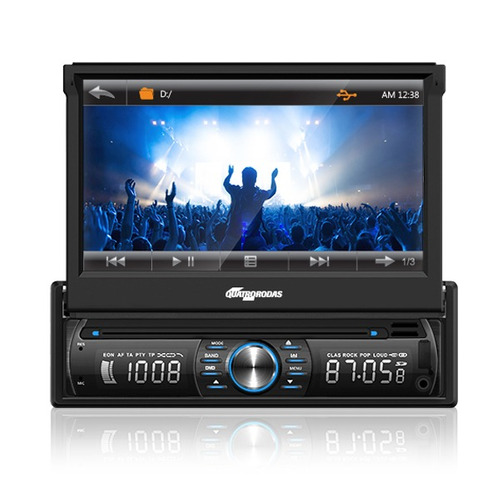 Dvd Player Automotivo Quatro Rodas Retrátil 7 Touchscreen,
