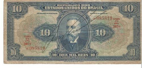 Cedula 10 Mil Reis R 110c Mbc+ Original