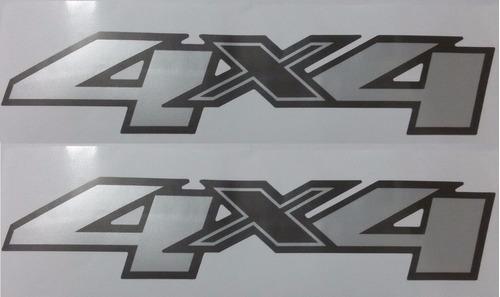 Dois 2 Adesivos 4x4 S10 E Blazer 2013- Adesivo Aço Escovado