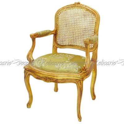 Cadeira de Braço Poltrona Luiz XV encosto Palhinha assento tecido nobre Belissima em MAdeira Maciça entalhes feito à mão e folha de ouro