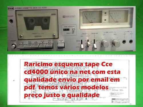 Raro Esquema Tape  Deck Cce Cd4000 Cd 4000  Em Pdf Original