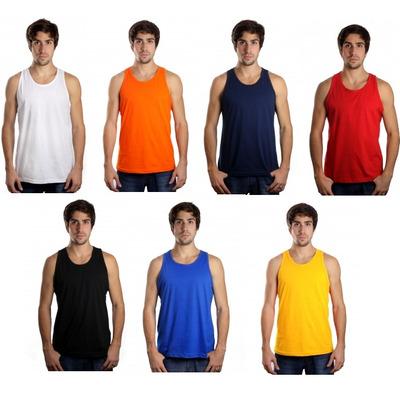 Kit C/5 Camisetas Regata Masculina Lisa Básica Camisa Blusa em São Paulo