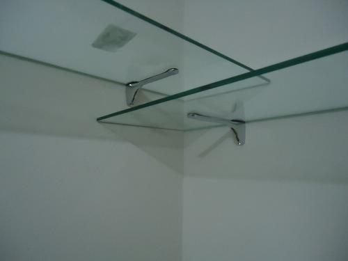 Estante De Vidro Temperado : Prateleira de vidro temperado 1.00 x 0.30 e suporte cromado r