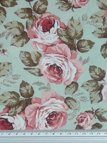 Tecido Floral Fundo Verde Chá 100%algodão Med: 6,00 X 1,50cm