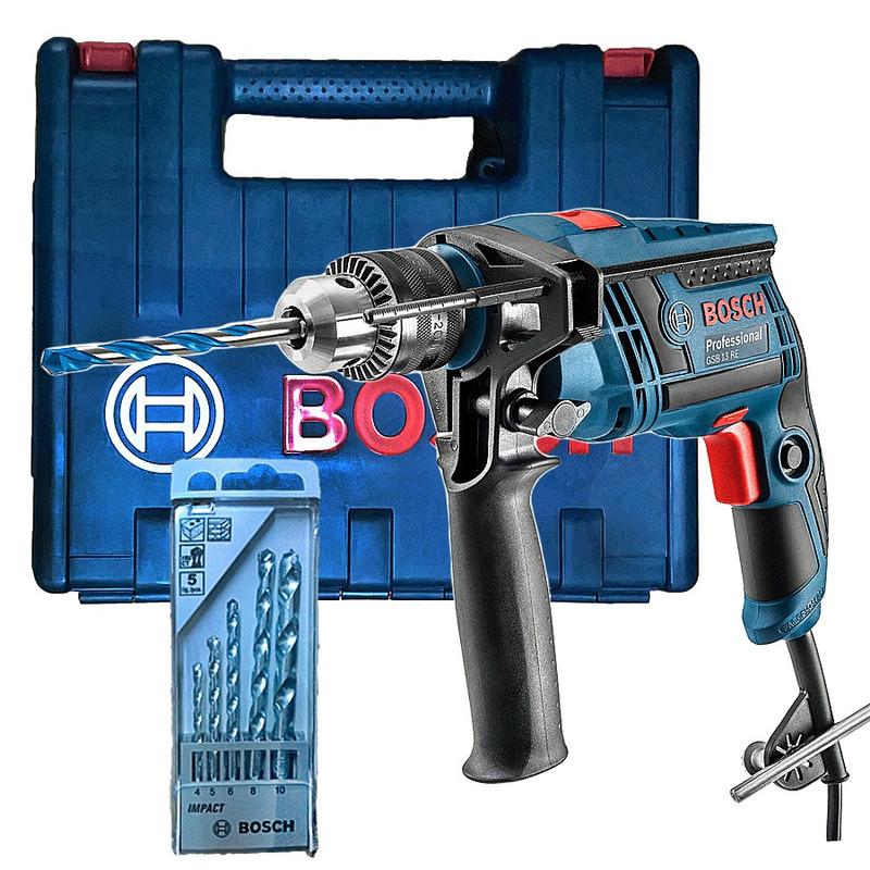 Furadeira de Impacto 650W 13mm GSB 13 RE Bosch +  Kit Brocas - 110V