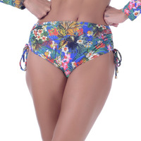 Calcinha Summer Soul Hot Pants Com Amarração Azul Royal Flores