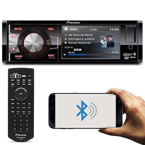 Dvd Player Pioneer Dvh-8880avbt Bluetooth Usb Tela 3,5 1 Din