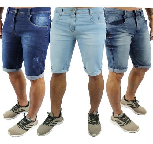 Kit 3 Bermuda Masculina Jeans Sarja Colorida Escolha Lycra Original