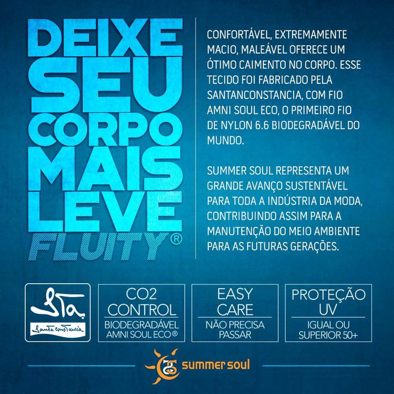 Maiô Summer Soul Frente Única Folhagem Azul