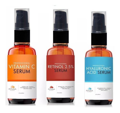 Trio Petúnia Com Pump (retinol+hialurônico+vitamina C) Original