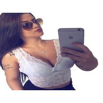 bd14d08859 Comprar Top Feminino Cropped Regata Blusa Renda Bojo Decot Alça Larg