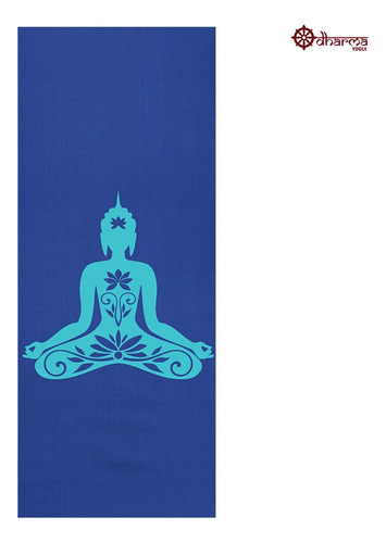 Tapete Yoga Premium Azul Estampa Buda 2,00m - 5mm