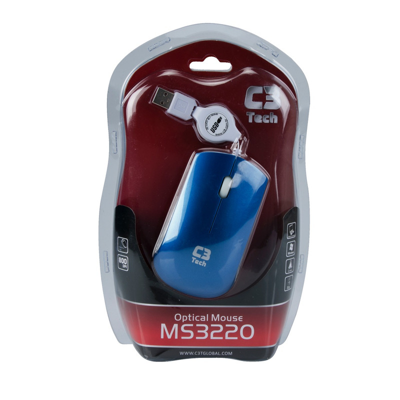 MOUSE USB RETRATIL MS3220-2 AZUL C3T