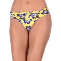 Calcinha Summer Soul Cós Alto Com Franzidos Floral Amarelo