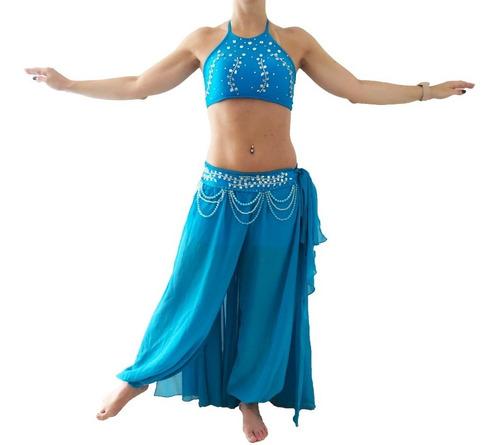 Figurino Azul Turquesa Calça E Saia Dança Do Ventre Original