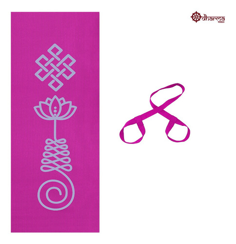 Tapete Yoga Rosa Estampa Unalome 1,73m-4mm+alça De Brinde