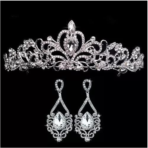 Coroa Tiara Noiva Daminha Dama Debutantes Casamento Brincos Original