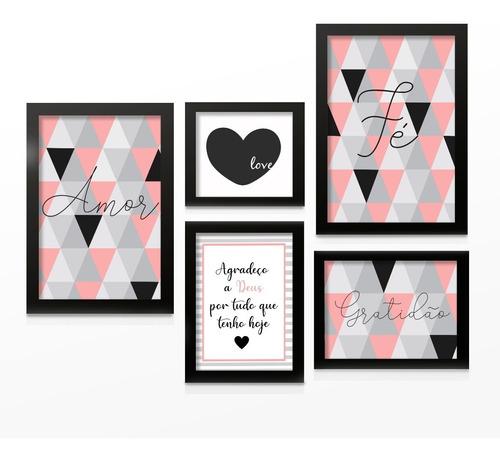 Kit Quadros Decorativos Com Moldura Frases Motivacionais Abstrato Love Quarto Sala Original