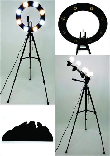 Ring Light 08 Soquetes 2em1 + Tripé  + Kit Selfie Original