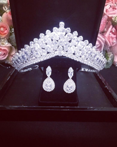 Coroa E Brinco Cabelo Noiva Zirconia Princesa Luxo Linda Original