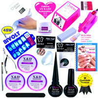 Kit Unhas Acrigel Lixa Cabine SUN 5 Led UV Bivolt Gel X&D