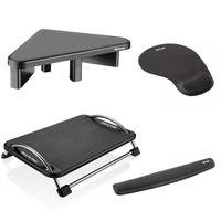 Kit Ergonômico com Apoio de Pulso para Teclado, Mousepad, Suporte para Monitor e Descanso p/ os Pés