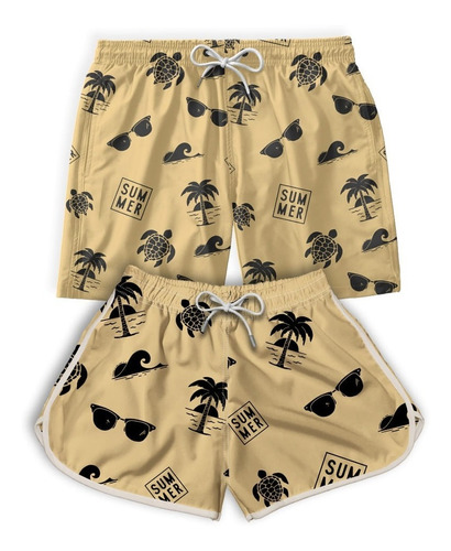 Kit Casal Short Bermuda Praia Summer Verão Promoção Original