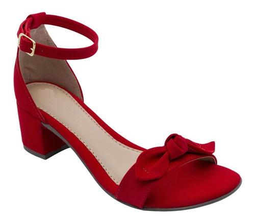 Sapato Sandalia Feminino Salto Quadrado Baixo Confortavel Original