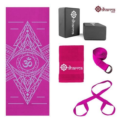 Kit Yoga Completo Rosa Alinhamento+alça+cinto+2blocos+toalha