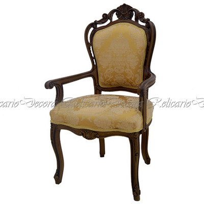 Cadeira de Braço Poltrona Luiz XV entalhes unicos feito artesanalmente tecido nobre lindo design