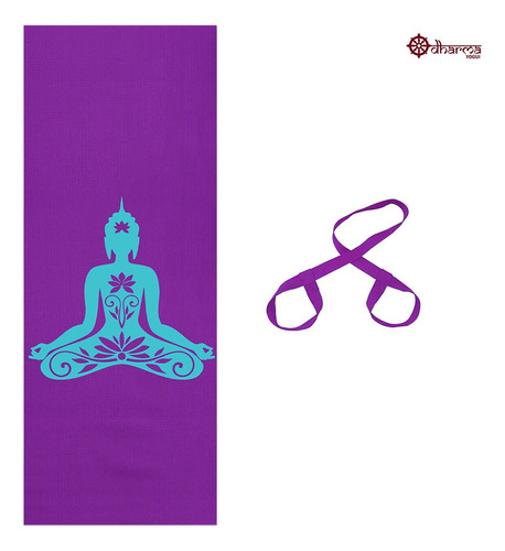 Tapete Yoga Premium Roxo Estampa Buda + Alça De Brinde