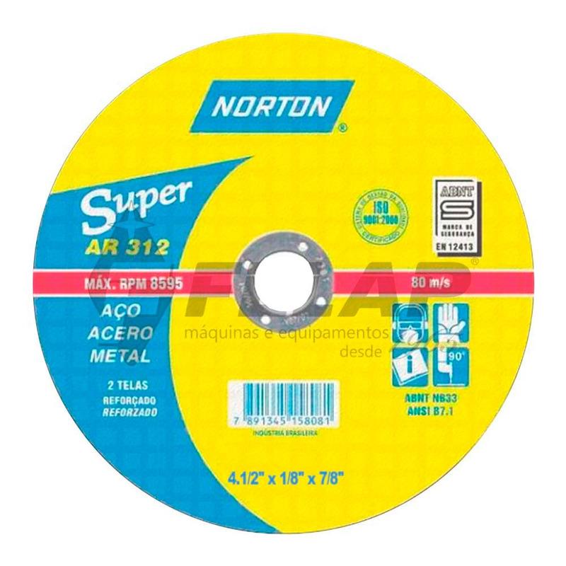 """Disco de Corte AR312 Norton 4.1/2"""" x 1/8"""" x 7/8"""""""