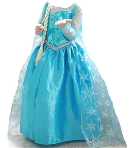 Vestido Infantil Fantasia Frozen Princesa Elsa Longo Original