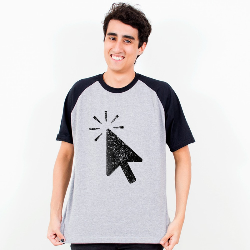 CAMISETA RAGLAN CINZA - NEW CLICKERS