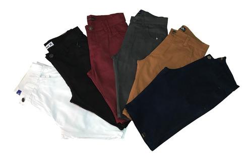 Bermuda Jeans Beje Short Sarja Vinho Masculina Coloridas 2un Original