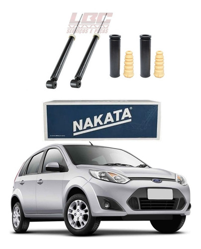 Kit 2 Amortecedor Traseiro Fiesta 2002 2003 2004 2005 2006 2007 2008 2009 2010 2011 2012 2013 2014 Nakata + Kit Original