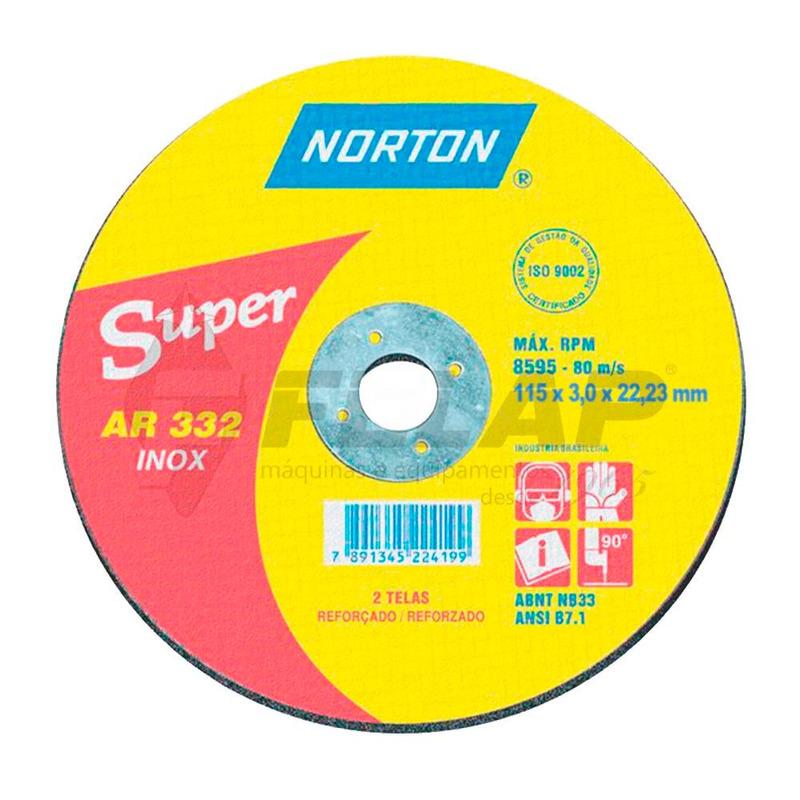 Disco de Corte AR332 Norton 115 x 3,0 x 22,23