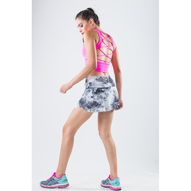 Saia Shorts Estampada Light Acizentada